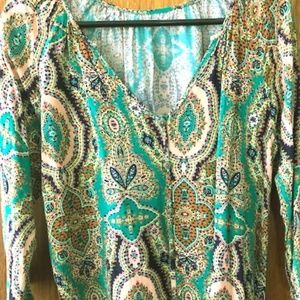 Green paisley blouse with gold buttons
